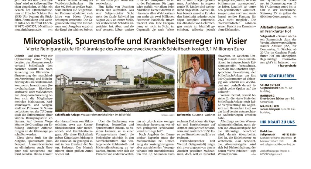 Mikroplastik, Spurenstoffe und Krankheitserreger im Visier - Offenbach Post 29.09.2020