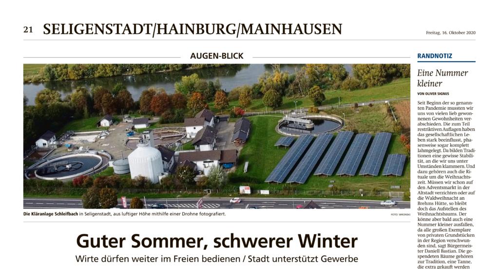 Foto vom Abwasserverband Schleifbach in der Offenbach Post 16.10.2020