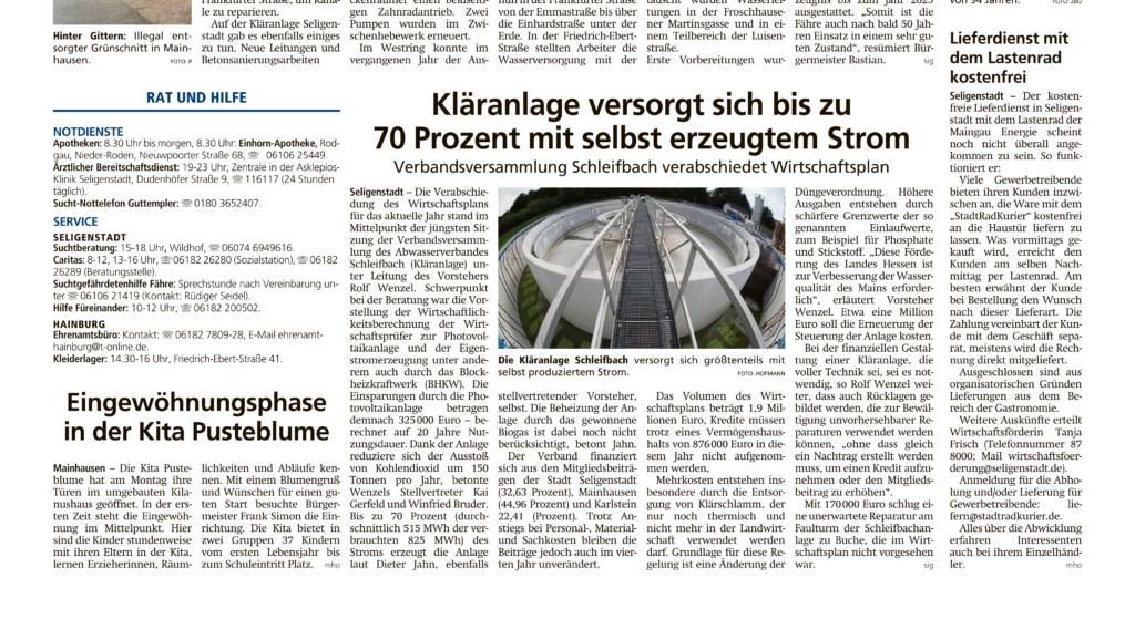 Kläranlage versorgt sich zu 70% selbst mit selbst erzeugtem Strom - Offenbach Post 2.4.2021
